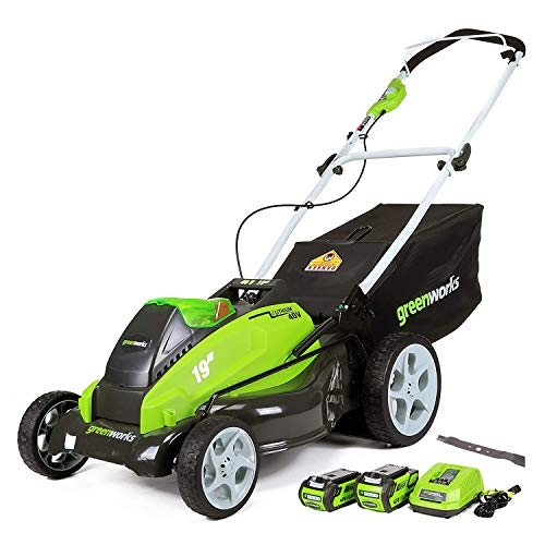 GreenWorks 19-Inch 40V Cordless Lawn Mower + Extra Blade, (1) 4Ah (1) 2Ah Batteries and Charger Included 2519202AZ