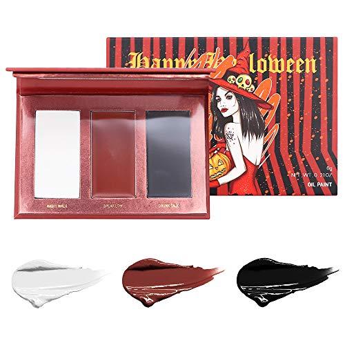 ELEVEN EVER faccia il corpo paint12 caso di colori flash festa di halloween costume tatuaggio dipinto arte bellezza (1) (3 color body pain-red)
