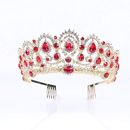 Tiara,Vofler Gold Crown Baroque Vintage Retro Headband Crystal Red Rhinestone Ruby Hair Jewelry Decor for Women Queen Ladies Girls Bridal Bride Princess Birthday Wedding Pageant Party with Combs