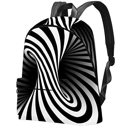 Schwarz-Weiß Vertigo Laptop Rucksack Reiserucksack Große Tasche Schulrucksack für Damen, Kinder und Herren