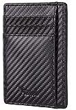 BSWolf Minimalist Leather Wallet RFID Blocking Slim Pocket Card Holder for Men & Women (Woven Black)