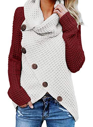 GOSOPIN Damen Pullover lose Pullis Langarm Oberteil Rollkragen Outwear S-XXL, Rot-weiß, S