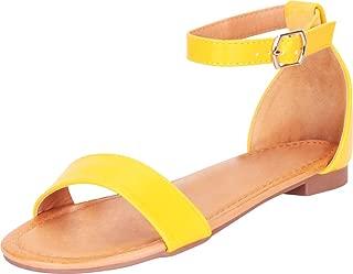 Women's Classic Open Toe Single Band Ankle Strap Flat Sandal