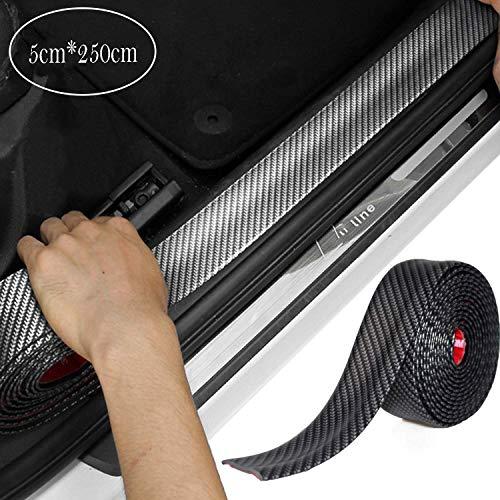CompraFun Auto Einstiegsleisten Aufkleber Kantenschutz, Auto Gummi Stoßstange Spoiler Kantenschutz Kohlefaser Anti Scratch Aufkleber 5cm*2.5m