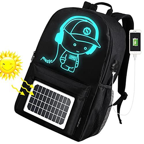 YXST Mochila para PortáTil Mochila 15.6 Pulgadas,EnergíA Solar Mochila Luminosa,Impermeable Mochilas de Marcha con Puerto USB,para Viajes Alpinismo Acampar