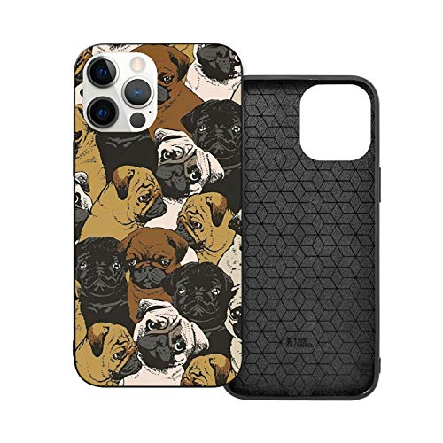 Cute Pug Dog iPhone Phone case Unique Adorable Animal Design iPhone 12 Pro 6.1 Protective case Ultra Thin fit Anti Scratch and Shock Proof