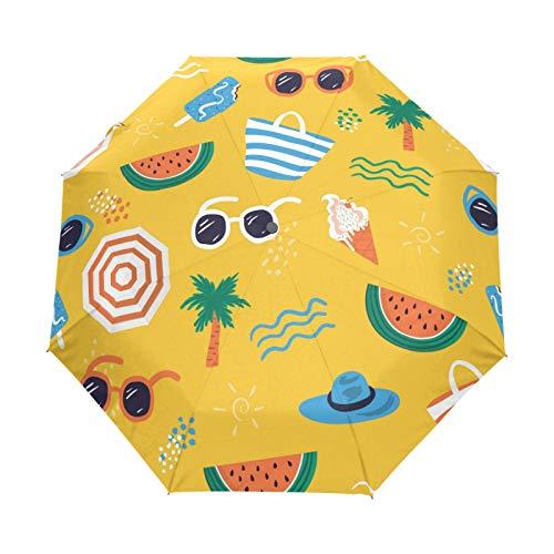 JinDoDo - Paraguas plegable automático de sandía para verano, resistente al viento, protector solar para viajes, para mujeres, hombres, niñas y niños