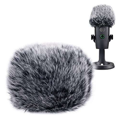 YOUSHARES Microphone Furry Windscreen Muff - Mic Wind Cover Fur Pop Filter as Foam Cover Compatible with Blue Yeti Nano