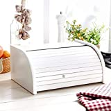 Panera de madera con puerta enrollable para guardar panes, tamaño pequeño, color negro, madera,...