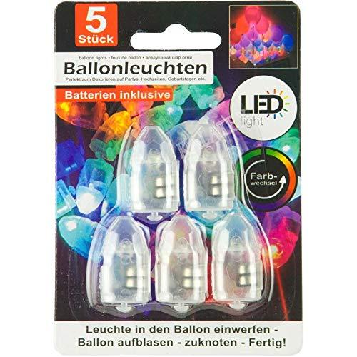 Ballonleuchten 5er Set, mit Farbwechel, im Display, inklusive Batterien 2xAG3, auf Blisterkarte, Leuchten in den Ballon einwerfen, Ballon aufblasen und zuknoten