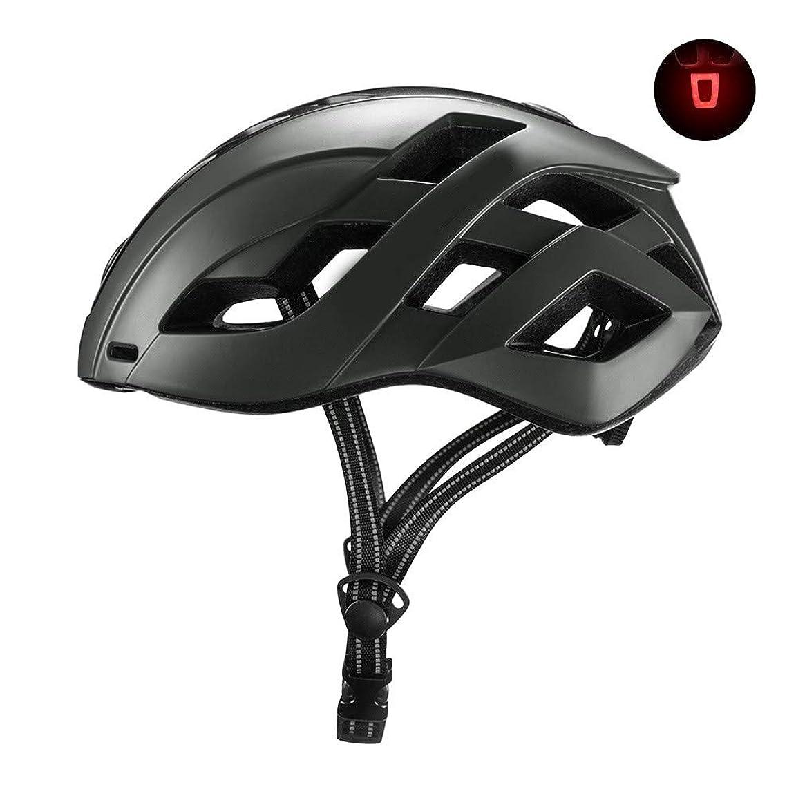 クスクス影響雑品USB充電式リアライト取り外し可能超軽量調整ライディングヘルメット付き自転車用ヘルメットMountain Road自転車用ヘルメット男性女性用大人用サイクリングヘルメット(57?62cm)