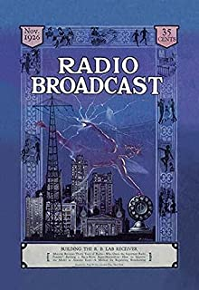 Radio Broadcast is like a lighting bolt over radio transmission towers and skyscrapers Radio Broadcast magazine ran between 1922 and 1930 and focused on the vacuum tube era Poster Print by FJ Edgars