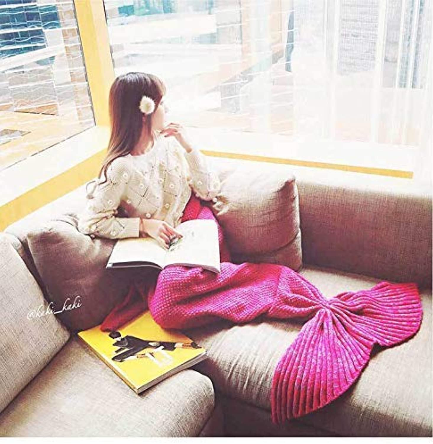 JINGB Home Mermaid air Conditioning Mermaid Tail Sofa, pink red, 140  70CM (55  27.5 inch) (color   The Red, Size   140  70CM)
