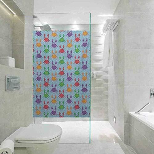 Sichtschutz-Fensterfolie, dekorative Glasfolie, Krebse Cartoon Art Stil Illustration von Krebsen auf dem blauen Hintergrund, Home Window Tönungsfolie Heat Control, 60 x 199,9 cm