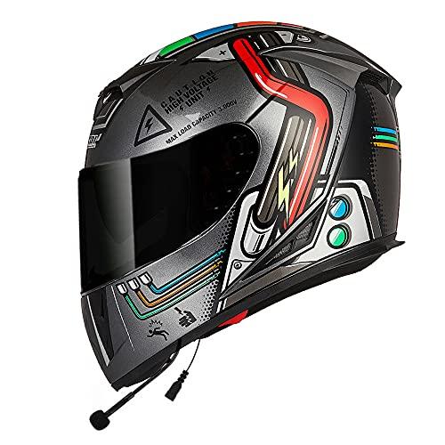 FREEUP Casco Moto Bluetooth Auriculares Integrado para Hombres, Damas, Casco de Motocicleta Casco Integral con Lente Doble, Multicolor 57-64 cm,Negro,L