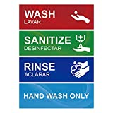 """Wash rinse sanitize sink labels sign is made of premium vinyl which can durable, waterproof and convenience for 3 compartment sink. Sink stickers is designed with large, bold contrast lettering """"Wash, Rinse, Sanitize"""" and 'Hand wash only"""", conspicuou..."""
