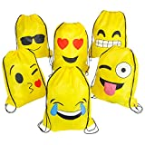 16'x13' Emoticon Drawstring Backpack 12-Pack