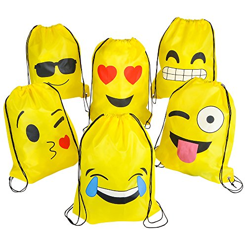Great Features Of 16x13 Emoticon Drawstring Backpack 12-Pack