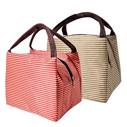 Isolierte Lunchtasche, 2 Stück, wasserdicht, auslaufsicher, mit Reißverschluss, faltbare Lunchtasche, tragbare Aufbewahrungstasche für Frauen, Erwachsene, Studenten (23 x 17 x 15 cm)