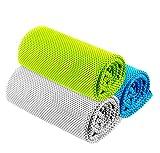 冷感タオル 冷却タオル 瞬間冷却タオル スポーツタオル UVカット ひんやりタオル 速乾タオル アウトドア 猛暑対策 防臭抗菌 誕生日や父の日のプレゼント (3枚セット 藍+緑+灰) ChBang
