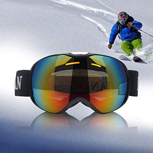 Riloer Gafas de snowboard para esquí al aire libre para niños, protección UV400, resistente al viento, anti-UV y anti-nieve persiana (negro)
