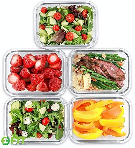 1 Fächer Glas Meal Prep Behälter [5er Pack, 1000 ML] - Lebensmittel-Behälter mit Deckel, BPA-freie Lebensmittel-Prep Behälter, Bento Box, Brotdose, Portionskontrolle, luftdicht