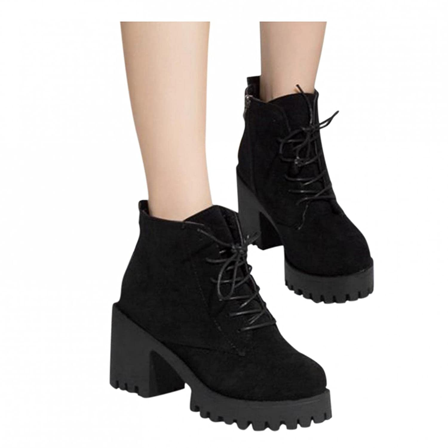 Kledbying Women Autumn Winter Solid Color Ankle Casual Boots Short Shoes Breathable Comfy Leisure Snow Boots