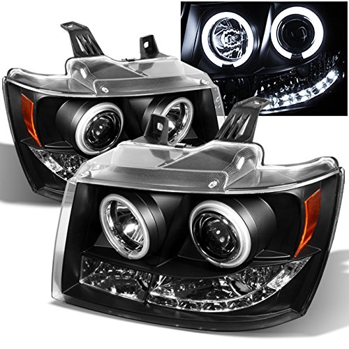 For Suburban Avalanche Tahoe Black Dual CCFL Halo Ring LED DRL Projector Replacement Headlights Lamp