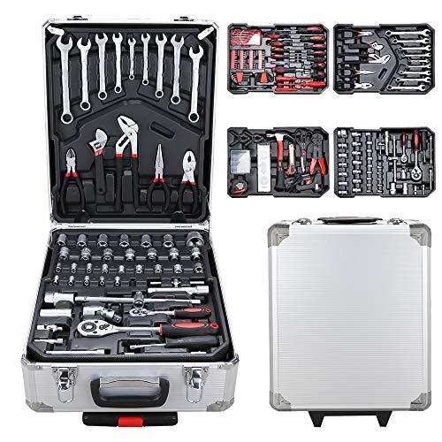 BMOT Werkzeugkoffer 1031 teilig Werkzeugkasten Alu Werkzeugkiste Set abschließbar Werkzeugtasche Werkzeug-Trolley 4 Ebenen Werkzeugtrolley