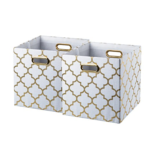 BAIST Fabric Storage Cubes,Nice Big Square Heavy Duty Fabric Decorative Cubby Storage Cubes Bins Baskets for Nursery Bedroom Office 2-Pack