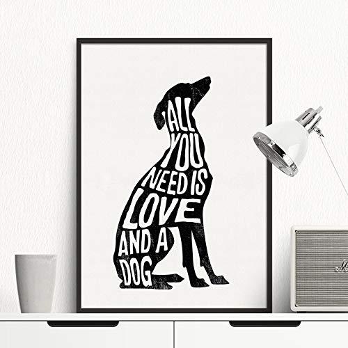 tzxdbh Hond Minimalistische Poster Italiaanse Greyhound Nordic Wall Art Print Canvas Schilderij Wandfoto's voor woonkamer Home Decor -in Schilderij & Kalligrafie van 40x50 cm No Frame