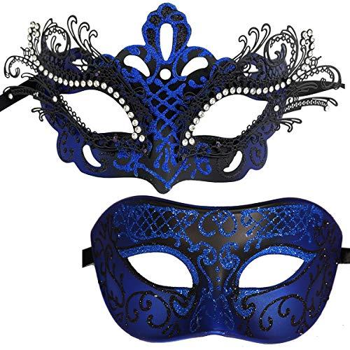 Xvevina Couple Masquerade Metal Masks Venetian Halloween Costume Mask Mardi Gras Mask (2 Pack Black Blue)
