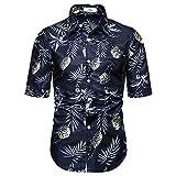 ZAGO Mens-beiläufige Shirt Männer Revers Lose Printed Kurzarmhemd Geeignet for Dating Und Arbeit...