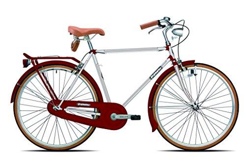 Legnano Ciclo 200 Urban, Bicicletta Vintage Uomo, Bianco/Rosso, 50