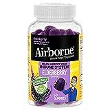 Airborne Elderberry + Zinc & Vitamin C Gummies For Adults, Immune Support Zinc Gummies with Powerful Antioxidants Vit C D & E - (50 count bottle), Delicious Elderberry Flavor, Gummy