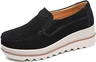 Freeship Deals Women Comfy Slip-On Platform Shoes Women Platform Slip On Loafers Comfort Wedge Shoes (10, Black)