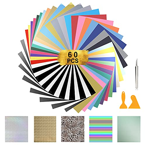 """HTV Heat Transfer Vinyl Bundle, 60 Pack 12"""" × 10"""" Iron on Vinyl for T-Shirt, 25 Assorted Colors with 5 Advanced materials & HTV Accessories Tweezers for Cricut, Silhouette Cameo or Heat Press Machine."""