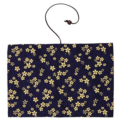 WINOMO Capa para livro de flores de cerejeira para livros com capa dura para caderno, diário, decoração, presente, azul escuro, A5