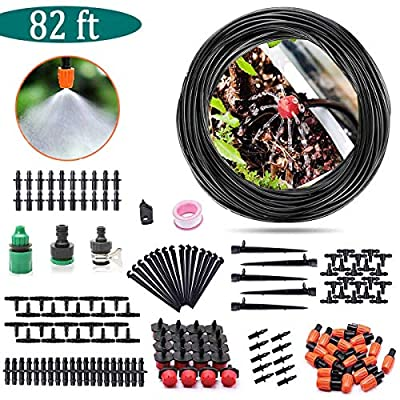 """AGTLLC Drip Irrigation Kits - DIY Sprinkler System Adjustable Automatic Micro Saving Water Plant Watering Set with 82ft 1/4"""" Blank Distribution Tubing Hose"""