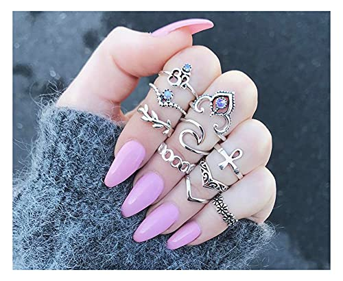 RXSHOUSH 10 PCS Silver Knuckle Anillo Conjunto para Mujeres Chicas Vintage Flor Alloy Alay Stackable Finger Set