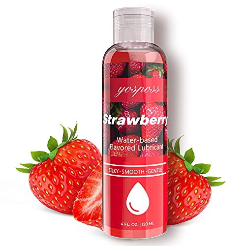 4 fl.oz. Strawberry Flavored Water Based Lubricant for Men Women, Sugar-Free Natural Feel Personal Lube for Couples Massage, Long-Lasting Gel Non-Sticky Slippery Edible Lube & & Latex Compatible