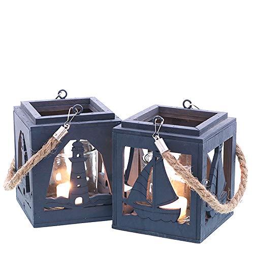 Laterne 'Maritim', 2 sort., blau, Holz mit Tau-Henkel, inkl. klarem Glaseinsatz, ca. 12 x 12 x 14 cm H/ (Glas ca. 8 cm Ø x 8 cm H) (Leuchtturm)