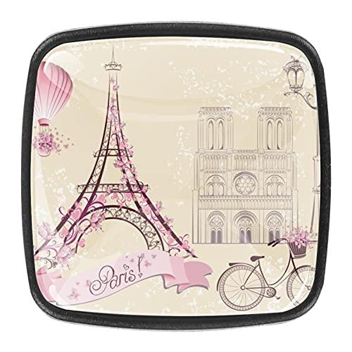 (4 piezas) pomos de cajón para cajón con tiradores de cristal para gabinete de gabinete con tornillos para el hogar, oficina, armario, Torre Eiffel de París de 35 mm