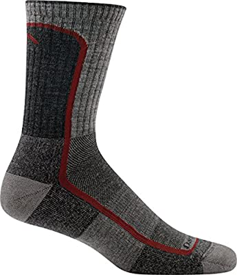 Darn Tough Vermont Men's Merion Wool Micro-Crew Light Cushion Hiking Socks, Smoke/Cranberry, Medium