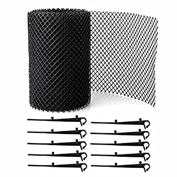 Gutter Guards Flexible Protector Roll,Plastic Mesh Or Screen Covering Filter Traps Strainer,15 Clip Fixing Hooks,Stop Gutter Drain Downspout Clogging from Leaves or Debris  XL-3pack