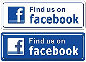 eSplanade FIND US ON Facebook Sign Sticker Decal - Easy to Mount Weather Resistant Long Lasting Ink Size (9
