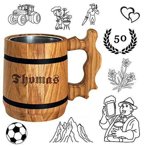 Bier Geschenk personalisiert - Holz Bierkrug mit Edelstahl Becher 0,5 L - Gravur mit Name - für Männer, Vater, Biertrinker - beliebte Alternative zum Bierglas, Glaskrug, Tasse