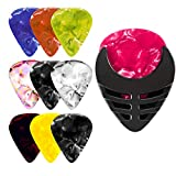 PERFORMORE Guitar Pick Holder, Stick-on Holders Black Plastic with Adhesive Back, Easy to Attach on Guitar, Suitable for Acoustic Electric Guitar Bass Ukulele,10 Pcs Assorted Guitar Picks Included