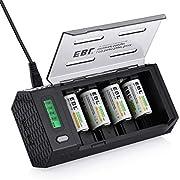 EBL Chargeur Universel de Piles LCD - avec 4X Piles C Rechargeables NI-MH 5000mAh, Chargeur de pour AA AAA C D 9V Piles Rechargeables avec Fonction Décharge