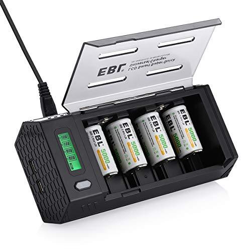 EBL Universal Akku Ladegerät - für AA/AAA/SC/C/D/9V/NiMH/NiCD Akkubatterien und USB Geräte, LCD Entladegerät, mit 4 Pack Baby C Akku